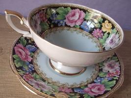 Vintage Black and Blue English chintz pink rose bone china tea cup teacup - $78.21