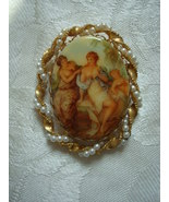 Vintage Brooch ~ Courting Couple ~ Faux Pearls - $20.00