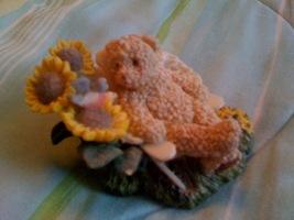 Golden Teddy Bear on a beach chair with sunflowers - $11.00