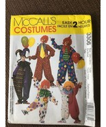 McCalls CLOWN Jester Costume Pattern 3306 Size TEEN or ADULT Ex-Small  - $8.99