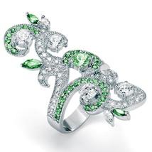 PalmBeach Jewelry 2.66 TCW Green and White CZ .925 Sterling Silver Swirl... - $22.55