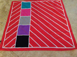 """VINTAGE LIZ SINCLAIR POLYESTER SCARF-ITALY-25""""x25""""-Machine Wash-Squares-Red - $9.82 CAD"""