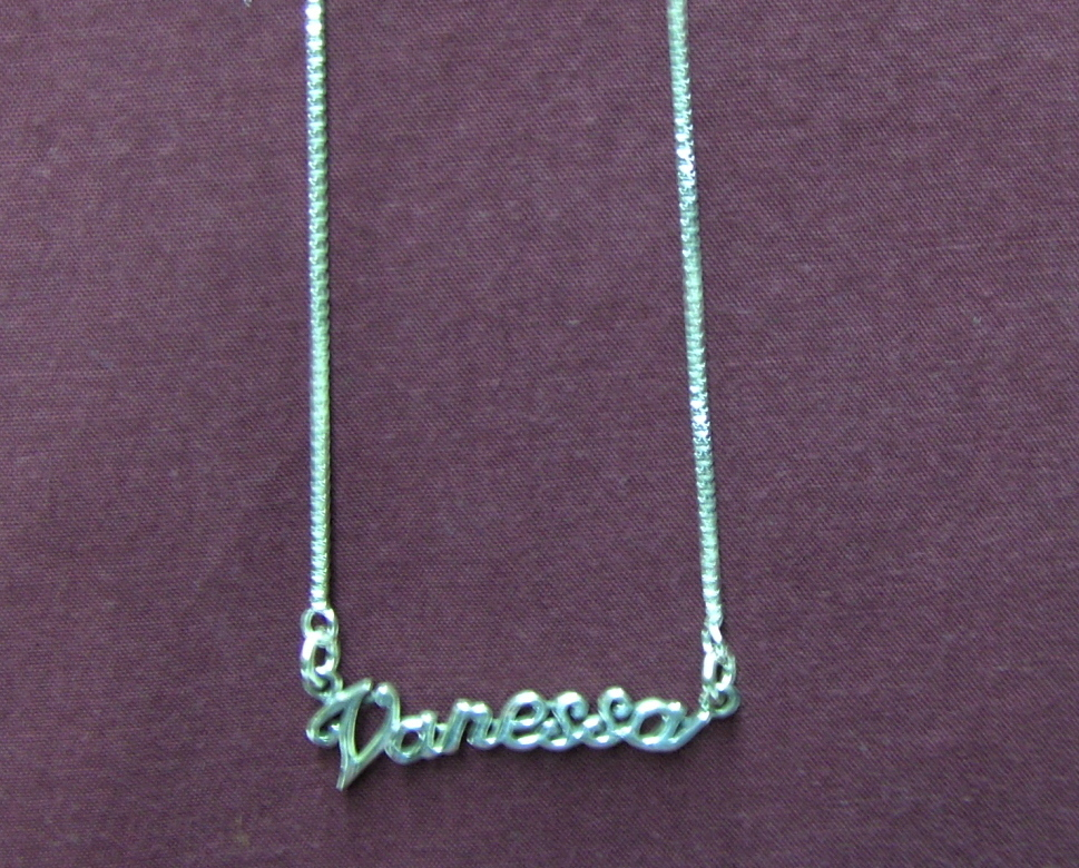 Sterling Silver Name Necklace - Name Plate - VANESSA