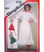 1980s Waist 26 1/2 Front Wrap Ruffled Skirt Simplicity 5758 Size 12 Pattern - $5.99