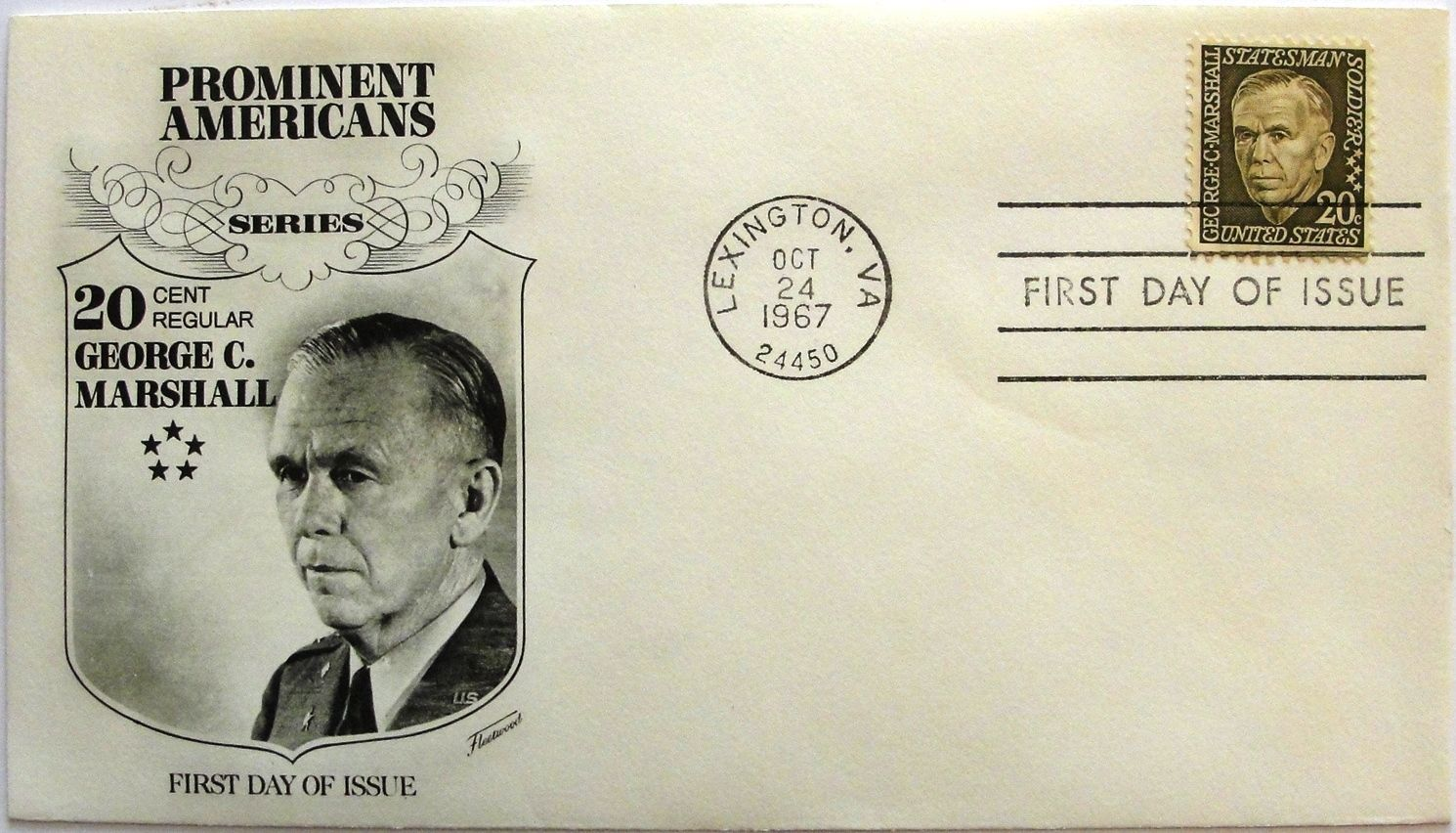 October 24, 1967 First Day of Issue, Fleetwood Cover, George C. Marshall #15