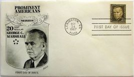 October 24, 1967 First Day of Issue, Fleetwood Cover, George C. Marshall... - $2.74