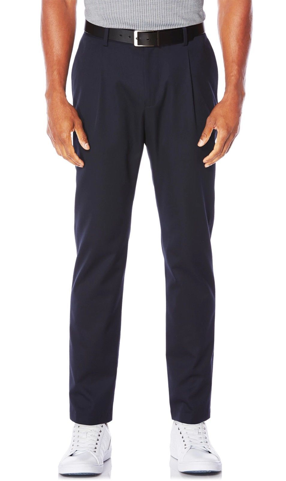 NEW MENS PERRY ELLIS SINGLE PLEATED TAPERED NAVY BLUE PANTS 30 X 30 $79