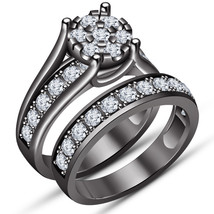 Round Cut Diamond Halo Bridal Set 10K Black Gold Over 925 Silver Engagem... - $98.99