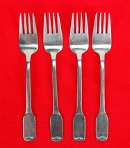 "4X Dinner Forks FB Rogers Stainless Flat Square End Flatware 7 1/4"" Fork - $38.61"