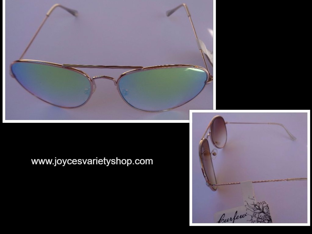 Primary image for Curfew Gold Metal Frame Mirrored Sunglasses NWT 100% UV Protection