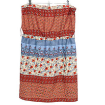Rue21 Womens Tube Top Strapless Sun Dress Size XL Orange Tan Blue Floral - $24.70