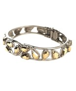 "5/8"" Wide Antique Silver Tone Golden Crystals Bangle Bracelet By Sorrell... - $166.25"