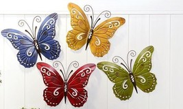 Set of 4 Butterfly Metal Wall Plaques Decor - Yellow, Green, Blue, Red