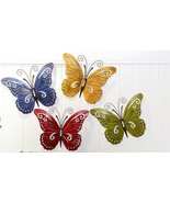 Set of 4 Butterfly Metal Wall Plaques Decor - Yellow, Green, Blue, Red - $79.19