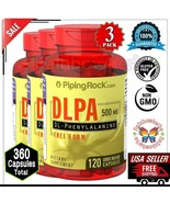 3x DLPA DL-Phenylalanine 500mg Cognitive Calm Mood Stress Supplement 360... - $45.04