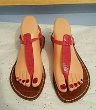 Sam Edelman Pink Snakeskin Thong Flat Sandals Shoes Size 7.5M - $24.75