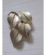 Brushed gold finish leaf pin BSK Steinberg Slovitt Kaslo - $40.00