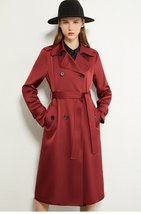 Women's English Vintage Solid Lapel Double Breasted Belted Trench Coat image 3