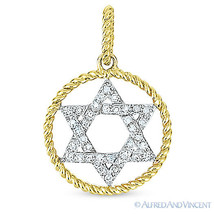 0.11 ct Round Cut Diamond Star of David Magen Pendant 14k Gold Judaica Necklace - $225.00