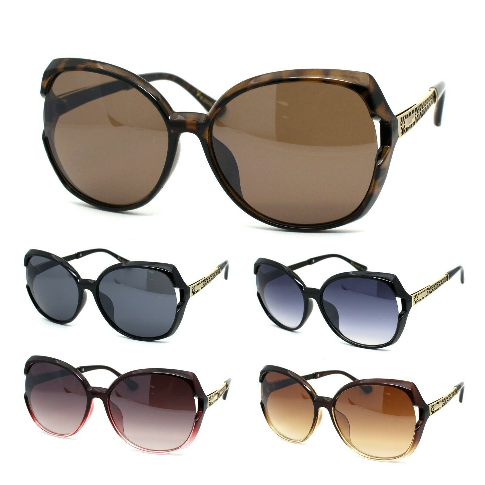 Womens Classic 90s Exposed Lens Butterfly Plastic Sunglasses