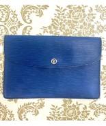 Vintage Louis Vuitton blue epi envelope style clutch bag with gold tone ... - $282.00