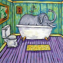Elephant taking a Bath bathroom art tile coaster gift - $14.99