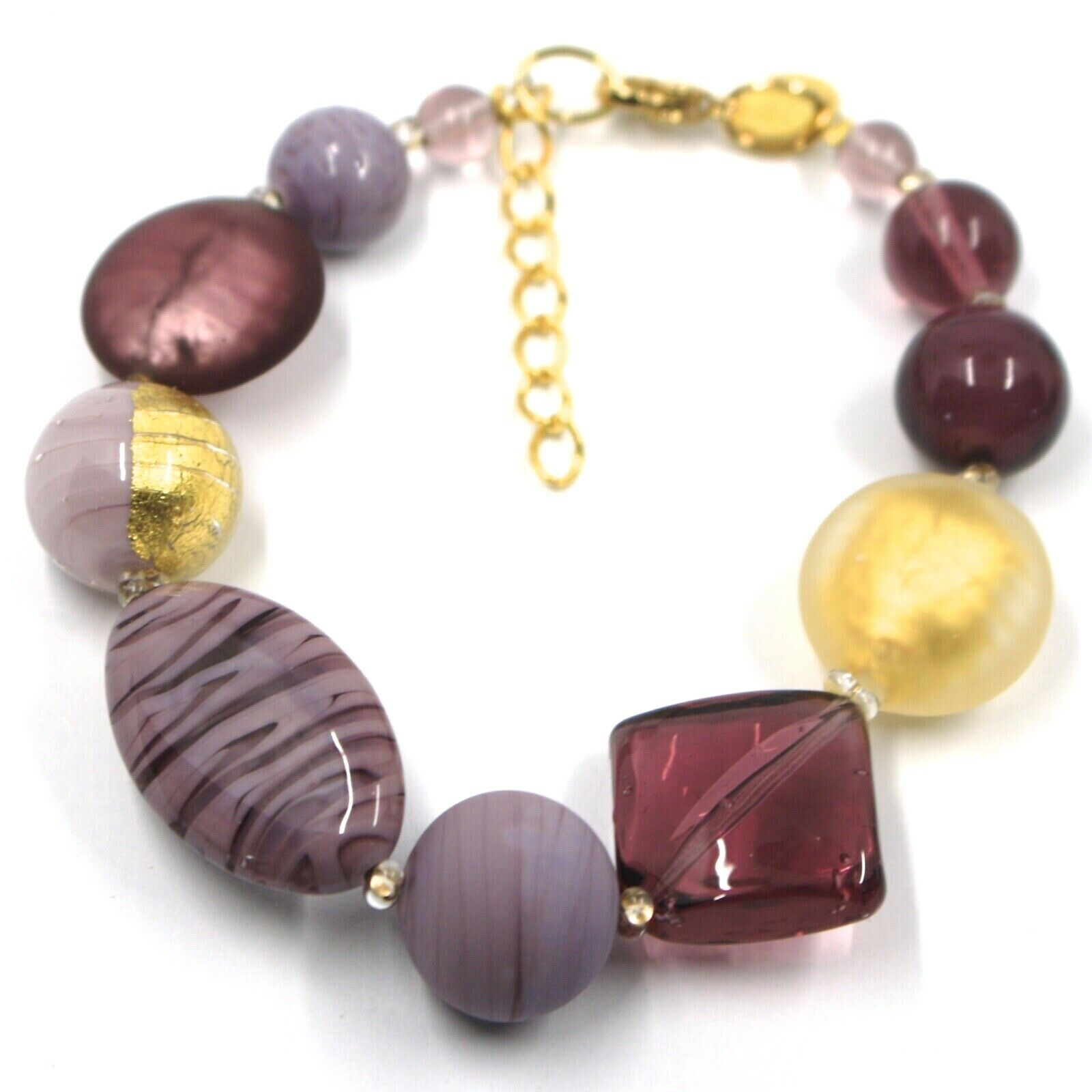 BRACELET PURPLE SPHERE OVAL DISC SQUARE MURANO GLASS GOLD LEAF, MADE IN ITALY