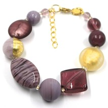 BRACELET PURPLE SPHERE OVAL DISC SQUARE MURANO GLASS GOLD LEAF, MADE IN ITALY image 1