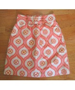 Tibi Floral Pencil Skirt Coral Gold Jacquard Buttons SIZE 0 Pockets Lined - $24.72
