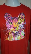 ✨Gorgeous Unisex Red Long Sleeve Cat T-SHIRT Size MEDIUM/ 40 In.Chest✨ - $22.50