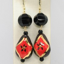 Yellow Gold Earrings 18K with Onyx and Ceramics Hand Painted by Made in Italy image 1