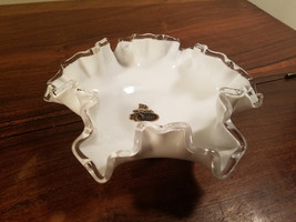 Vintage Fenton Milk Glass Silver Crest Ruffle Compote Dish Bowl - $19.75