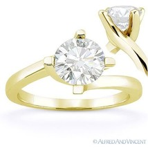 Round Cut Forever Brilliant Moissanite 14k Yellow Gold Solitaire Engagem... - £329.13 GBP+
