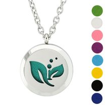 AZORA Leaves Aromatherapy Essential Oil Diffuser Necklace Locket Round P... - $11.99