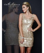 Milano Formals E1678 V-Neck Fitted Nude Gold Color Sequin Party Mini Dre... - $96.03