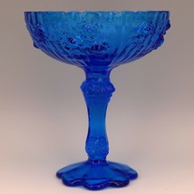 Vintage Fenton Art Glass Colonial Blue Rose Line Tall Footed Comport