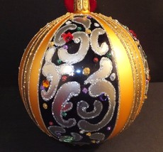 """Waterford Holiday Heirlooms 2013 Opulence 5"""" Sapphire Scroll Ball # 162985 - $134.64"""