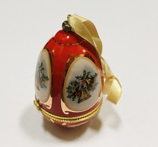 Valerie Parr Hill Mr Christmas Musical Egg Ornament Red Joy To The World Holiday - $18.51
