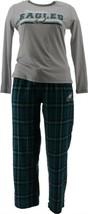 NFL Women's Pajama Set Long Slv Top Flannel Pants Eagles S NEW A387687 - $30.67