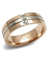 HCJ 2 TONE STAINLESS STEEL ROSE GOLD & SILVER 3 CRYSTAL 6mm BAND RING SZ... - $12.59