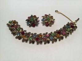 Vintage Judy Lee Colorful Rhinestone Leaf Link Bracelet Matching Earrings - $39.55