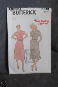Primary image for Butterick Pattern # 6519 Misses' Dress sz(8-10-12)
