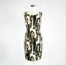 Brown white geometric cotton blend ELIE TAHARI sleeveless sheath dress 6 42 - $24.99