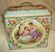 Antique Tin Victorian Courtship Shabby Chic Tea Caddy Candy Murray Allen... - $30.00