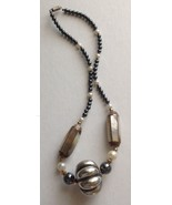 Vintage Fashion Necklace, Silver, MOP, Pearl Beads - $9.90