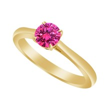 .50 Ct Pink Sapphire 9k Yellow Gold Over Solitaire Wedding Engagement Ring - $79.99