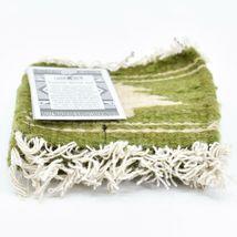 Handmade Zapotec Indian Weaving Hand-Woven Pine Tree Green Wool Coaster Set of 4 image 3
