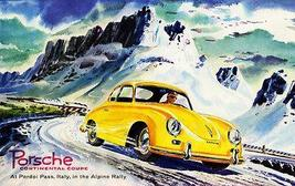 1955 Porsche Continental Coupe - Alpine Rally - Promotional Advertising Poster - $9.99+