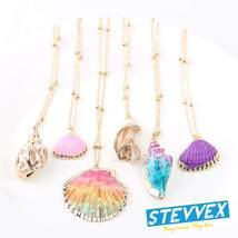 Boho Conch Shell Necklace Shell Gold Shell Chain Necklace Women Seashell... - $19.99