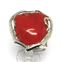 925 SILVER RING, RED CORAL NATURAL HEART, CABOCHON, MADE IN ITALY image 3